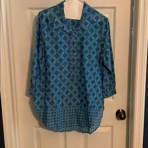 Coldwater Creek lightweight no iron teal tunic